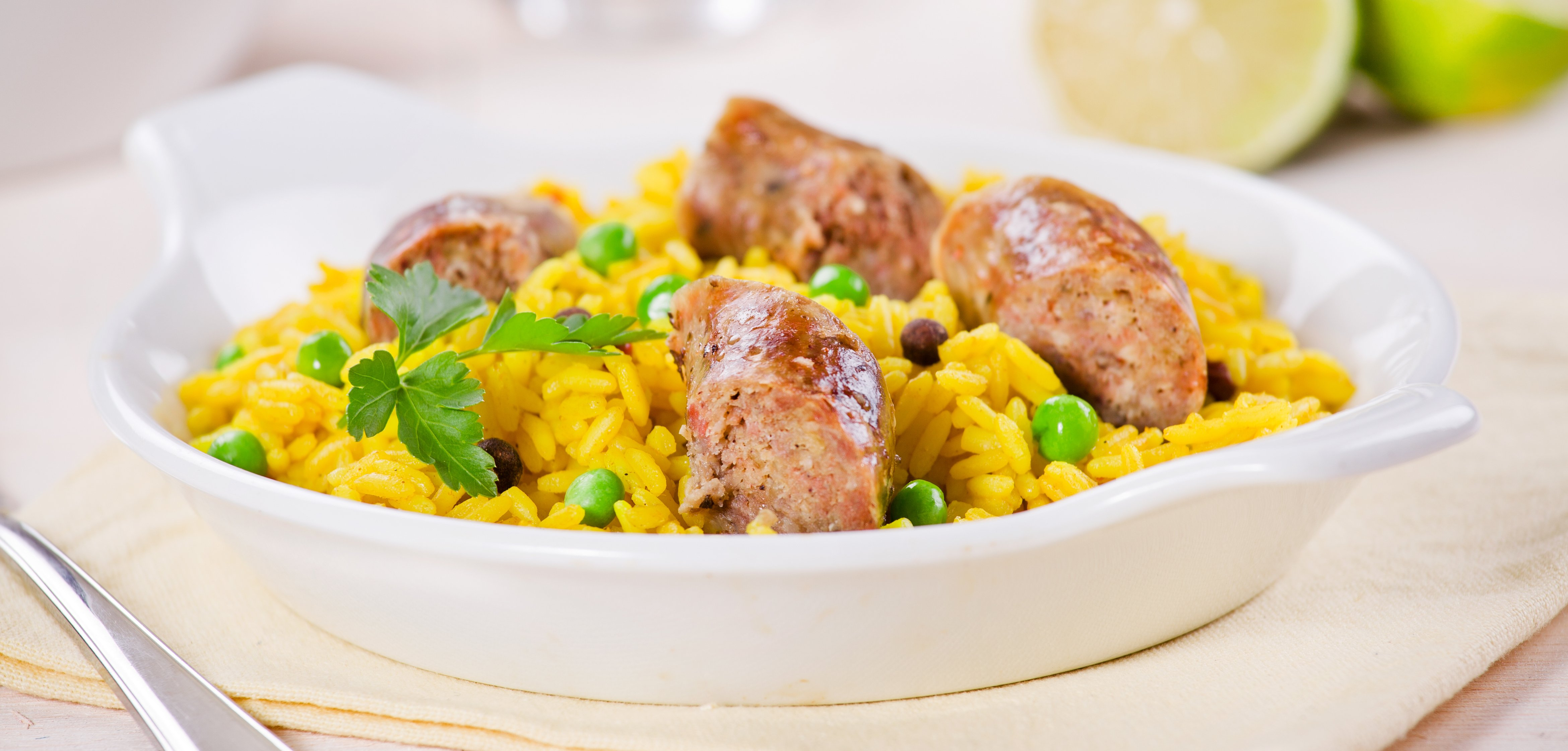 CURRIED SAUSAGES & RICE