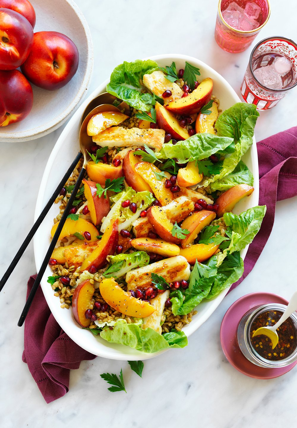 MIDDLE EASTERN-STYLE NECTARINE, HALOUMI AND FREEKEH SALAD