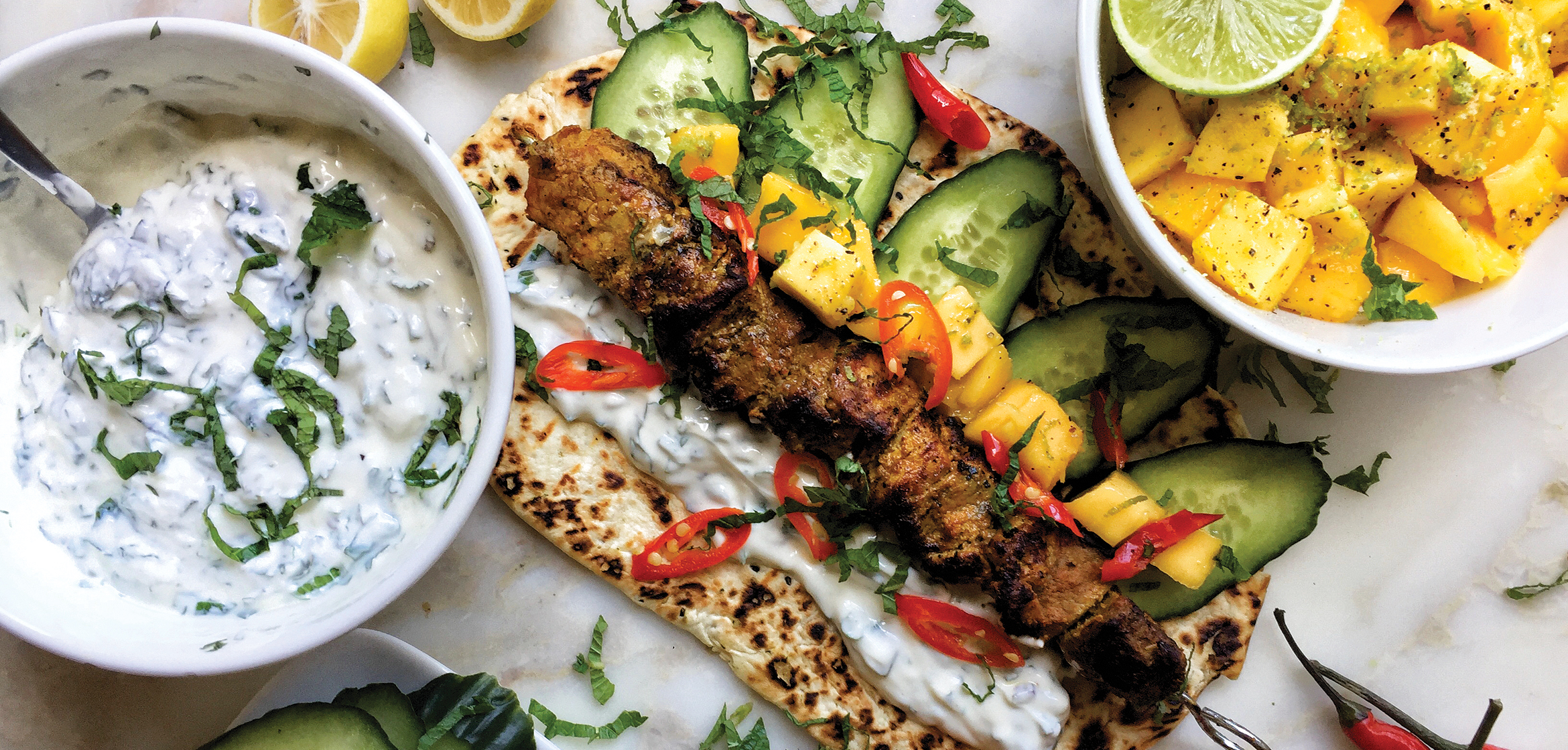 CURRIED PORK KEBABS