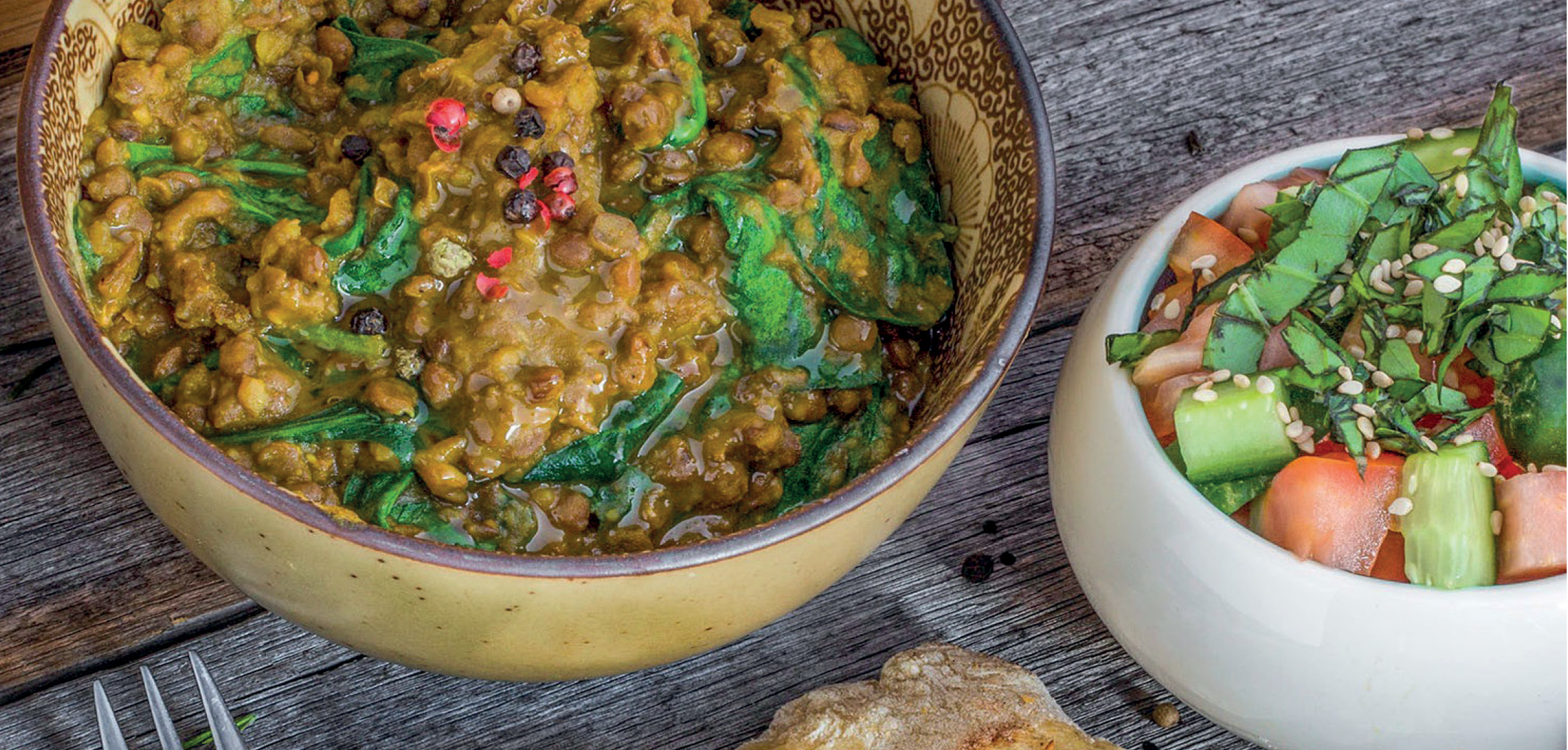 SPINACH DHAL WITH INDIAN SALAD