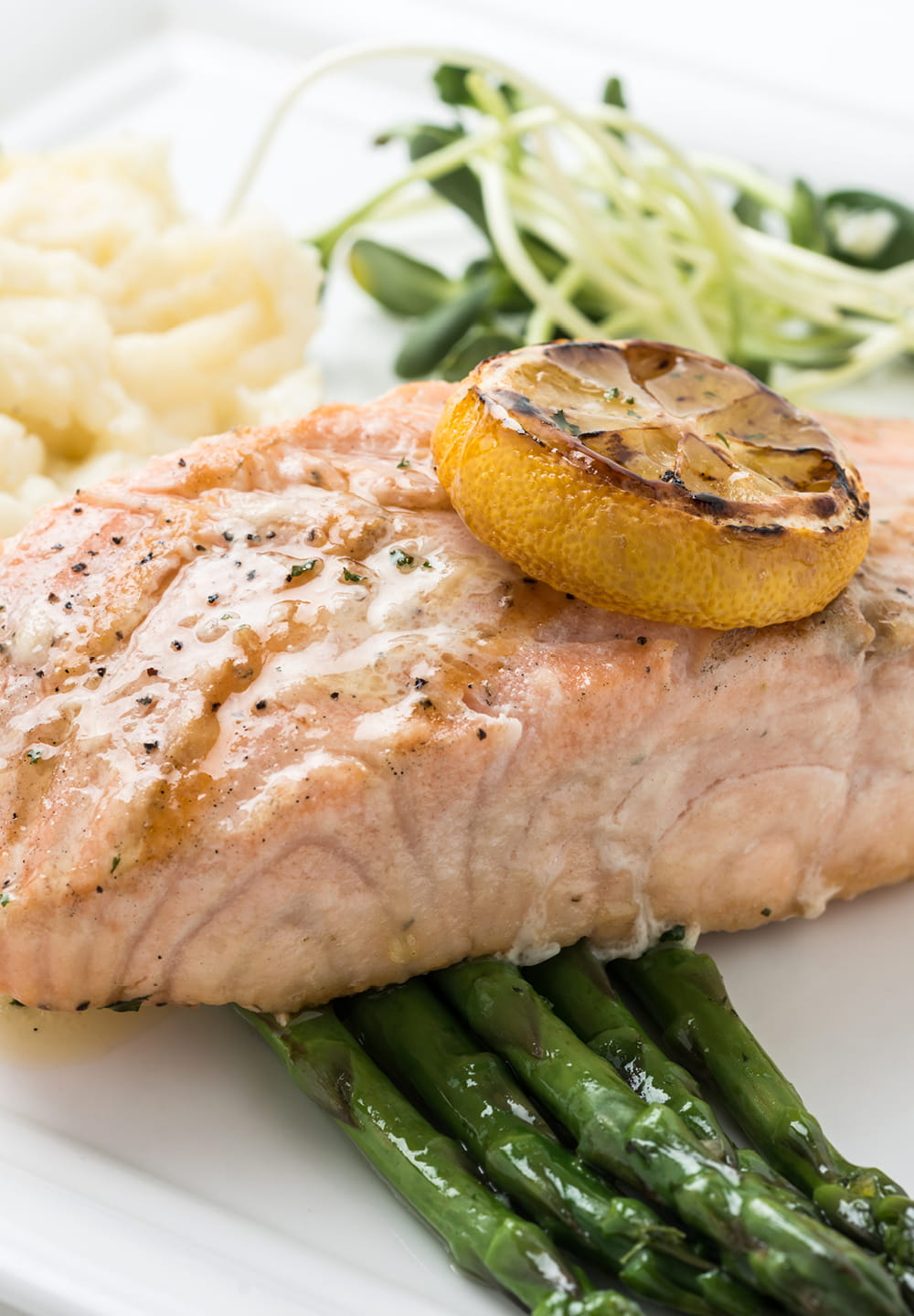 Salmon Steaks With Mash & Asparagus Spears