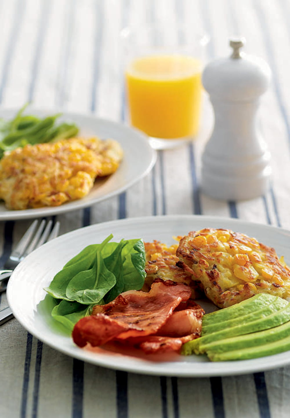 Corn Fritters With Bacon & Avocado