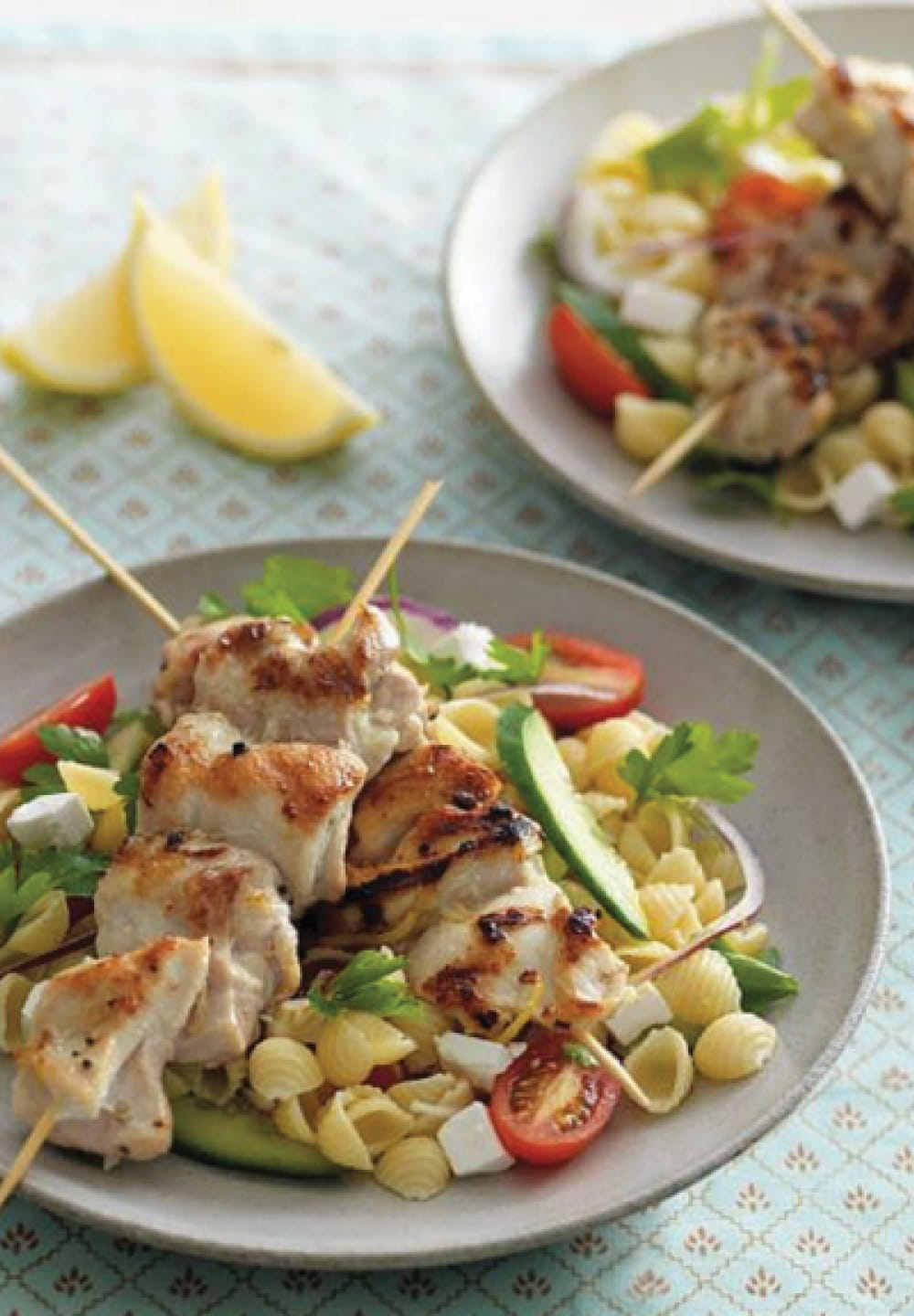 Grilled Chicken Skewers With Pasta Salad