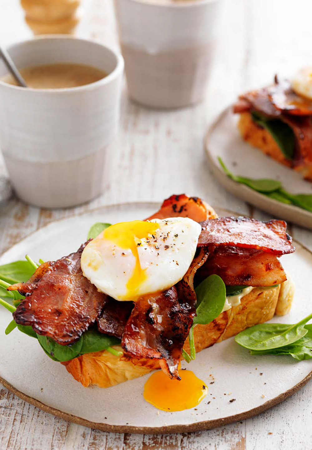 Maple-glazed Bacon And Poached Eggs On Brioche
