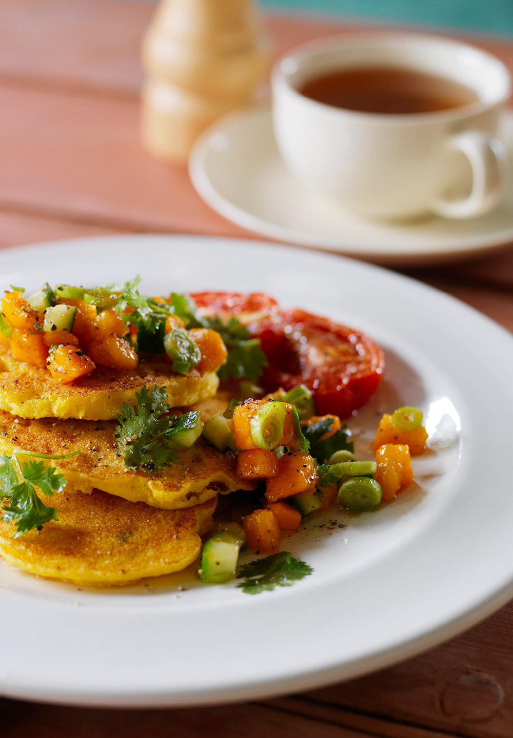 Red Papaya Salsa With Polenta Corn Cakes