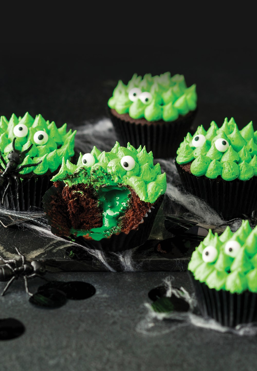 Slime Filled Chocolate Cupcakes
