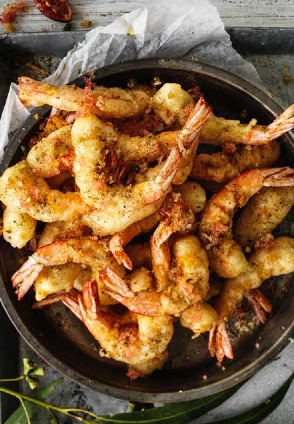 Bush Fennel Fried Prawns