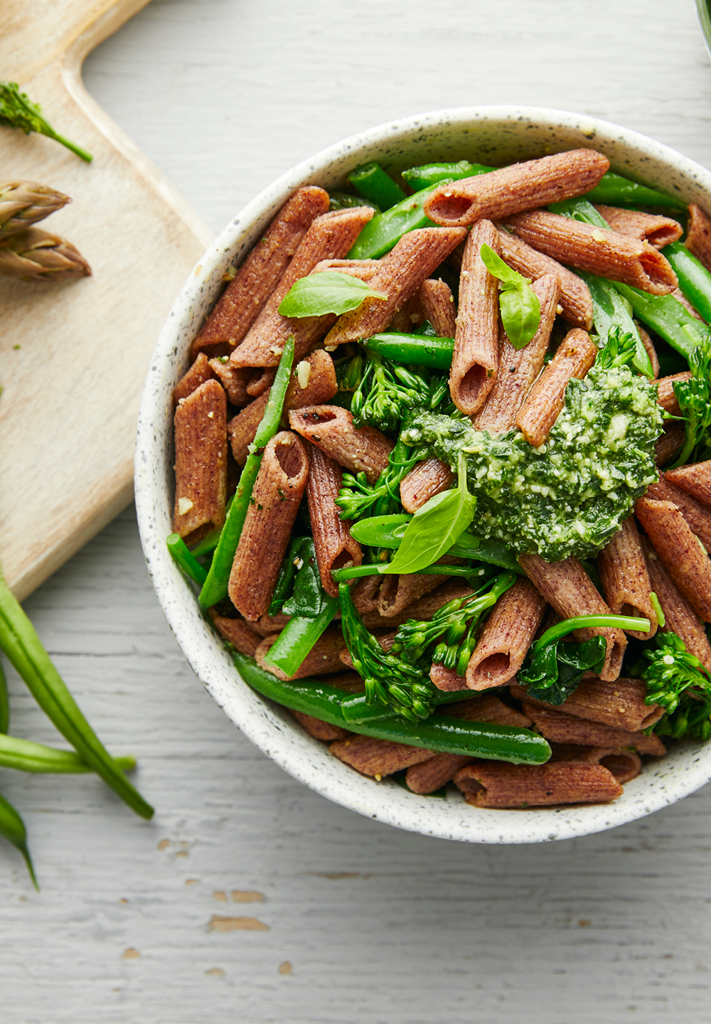 Fibre Fest Penne With Mixed Greens & Basil Pesto